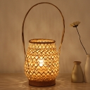 Hand-Worked Bamboo Desk Light Chinese 1 Bulb Flaxen Task Lighting with Curved Handle
