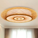 Asian 3 Heads Flush Mount Flaxen Donut Ceiling Mounted Fixture with Bamboo Shade