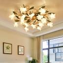 Antique Flower Ceiling Light Fixture 16 Bulbs Metal LED Semi Mount Lighting for Living Room in Brass