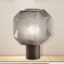 Geometrical Living Room Small Desk Lamp Tan Glass 1 Bulb Contemporary Task Lighting