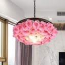 Brass 1 Bulb Ceiling Light Industrial Metal Rose LED Pendant Lamp for Restaurant, 13