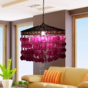 Cascading Metal Ceiling Pendant Traditional 1 Light Living Room Hanging Ceiling Light in Purple/Antique Bronze