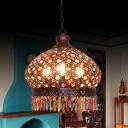 Dome Living Room Chandelier Lamp Metal 3 Lights Silver/Brass/Bronze Pendant Lighting Fixture, 14