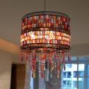 Drum Metal Chandelier Lighting Fixture Traditional 3 Bulbs Living Room Ceiling Light in Bronze