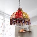 Metal Bowl Chandelier Pendant Light Art Deco 3/6 Heads Kitchen Drop Lamp in Orange/Green, 14.5