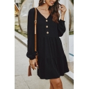 Womens Simple Long Sleeves V-Neck Button Front Solid Color Loose Mini A-Line Dress