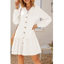 Ladies Elegant Plain Long Sleeves V-Neck Button Closure Midi Daily Ruffle Dress