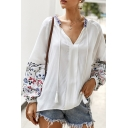 Popular Ladies Blouson Sleeve V-Neck Flower Pattern Fringe Detail Loose Fit Shirt in White