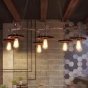 Open Bulb Metal Island Pendant Lighting Vintage 6 Lights Dining Room Pool Table Light in Rust