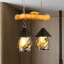 2 Lights House Shade Island Industrial Style White Fabric/Clear Glass Linear Chandelier for Restaurant