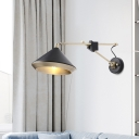 1 Bulb Bedroom Wall Lamp Modern Black/White Sconce Light Fixture with Flared Metal Shade