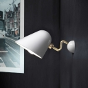 1 Bulb Bedroom Sconce Light Modernist White Wall Mount Lighting with Flared Metal Shade