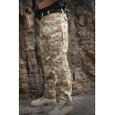Men's Fashion Camo Pattern Multi Pocket Straight Fit Zipper Tactical Pants