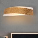 2 Bulbs Curved Sconce Light Modernist Metal Wall Mounted Lighting in Gold for Bedroom