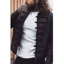 Men's Vintage Plain Black Applique Decoration Long Sleeves Frog Button Unique Jacket