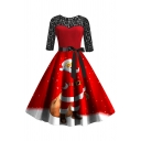 Red Vintage Three-Quarter Sleeve Boat Neck Mesh Patched Santa Claus Print Bow Tie Waist Midi Pleated Flared Dress for Women