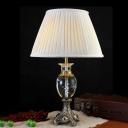 1 Bulb Crystal Night Light Antique Beige Urn Shape Bedroom Table Lamp with Metal Carved Base