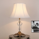 Fabric White Night Lamp Empire Shade 1 Head Traditionalism Table Light with Metal Carved Base