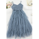 Amazing Ladies' Sleeveless Knit Mesh Patched Plain Long Pleated A-Line Cami Dress