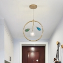 Metal Circle Ceiling Lamp Minimalist 1 Head Gold Pendant Light Fixture with Clear Glass Shade