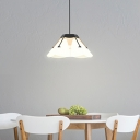 Contemporary Wide Flare Hanging Lamp Frosted White Glass 1 Head Restaurant Ceiling Pendant Light