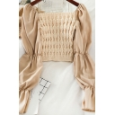 Ladies Graceful Plain Long Sleeves Knit Patchwork Cropped Chiffon Blouse