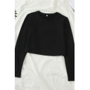 Girls Simple Plain Round Neck Long Sleeves Thin Loose Cropped T-Shirt