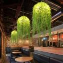3 Lights Seaweed Chandelier Industrial Green Metal Pendant Light for Restaurant, 18