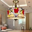 Drum Ceiling Flush Mount 5 Lights Cut Glass Mediterranean Semi Flush in Brass with Flower Pattern