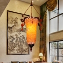1 Bulb Stained Glass Hanging Lighting Traditional Orange Lantern Dining Room Pendant Lamp