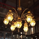 Gold 10 Heads Ceiling Chandelier Art Deco Tan Prismatic Glass Urn Suspension Pendant with Crystal Accent