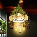 1 Head Metal Pendant Lamp Antique White Cherry Blossom Restaurant LED Down Lighting, 10