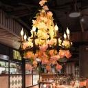 Pink Candelabra Pendant Chandelier Vintage Metal 6 Bulbs Restaurant LED Hanging Ceiling Light with Cherry Blossom Decor
