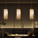 1 Head Cylindrical Hanging Lamp Chinese Bamboo Ceiling Pendant Light in Wood for Bedroom