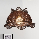 Chinese Hand Twisted Hanging Light Bamboo 1 Bulb Ceiling Suspension Lamp in Coffee