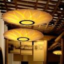 Japanese Flat Ceiling Chandelier Wood 3 Heads Suspended Lighting Fixture in Beige