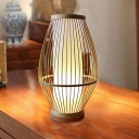 Curved Bamboo Small Desk Lamp Chinese 1 Bulb Beige Task Lighting for Dining Room