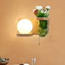 Wood Ball Sconce Light Fixture Industrial Opal Glass 1 Bulb Restaurant LED Wall Mount Lamp without Plant, Left/Right