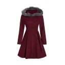 Stylish Fur Trimmed Hood Long Sleeves Double Breasted Longline Peplum Coat Plain Peacoat