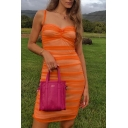 Orange Lace Mesh Patchwork Sleeveless Pleated Detail Fitted Cami Dress for Party