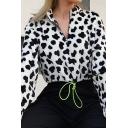 Hip Hop White and Black Cow Print Long Sleeves Half Zip Drawstring Hem Plush Cropped Sweatshirt