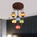 7 Lights Chandelier Lighting Mediterranean Restaurant Suspension Pendant in Copper with Sphere Stained Glass Shade