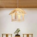 Beige House Ceiling Lamp Japanese 1 Bulb Bamboo Hanging Light Kit for Dining Room