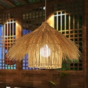 Handcrafted Pendant Lighting Japanese Bamboo 1 Bulb Ceiling Suspension Lamp in Flaxen/Coffee