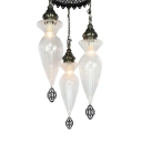 3 Heads Hanging Chandelier Traditional Gourd Clear Prismatic Glass Shade Ceiling Pendant Lamp