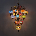 16 Lights Ceiling Chandelier Antiqued Oval Yellow Stained Glass Pendant Lamp for Bar