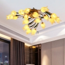 Brass 18 Heads Semi Flush Light Antique Metal Spiral LED Ceiling Fixture with Frosted Glass Shade