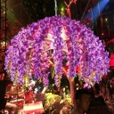 1 Light Metal Down Lighting Industrial Purple Floral Restaurant LED Hanging Pendant