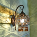 Globe Restaurant Sconce Lamp Traditional Metal 1 Head Rust Wall Lighting Fixture with Crystal Accent