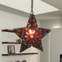 Red 1 Bulb Pendant Lamp Traditional Metal Five-pointed Star Suspension Lighting for Living Room